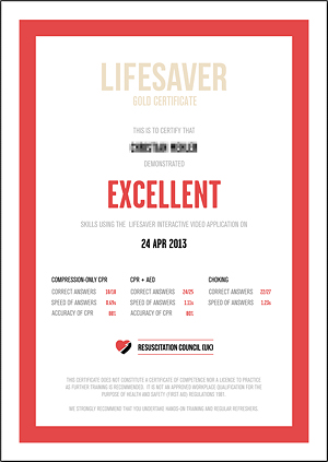 Lifesaver Zertifikat